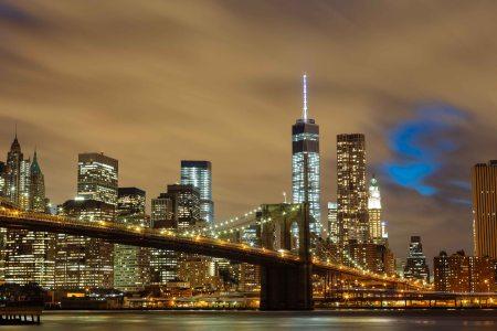 Brooklyn Bridge at Night Manhattan background from Brooklyn